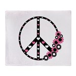Peace Sign with Hearts and Flowers Throw Blanket