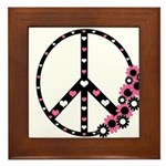 Peace Sign with Hearts and Flowers Framed Tile