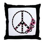 Peace Sign with Hearts and Flowers Throw Pillow