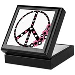 Peace Sign with Hearts and Flowers Keepsake Box