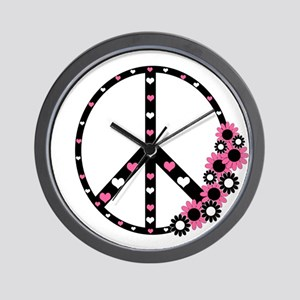 Peace Sign with Hearts and Flowers Wall Clock