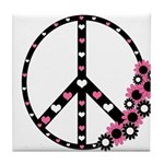 Peace Sign with Hearts and Flowers Tile Coaster