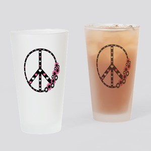 Peace Sign with Hearts and Flowers Drinking Glass