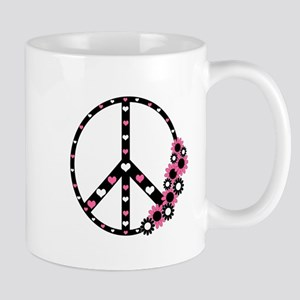 Peace Sign with Hearts and Flowers Mug