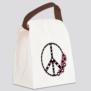 Peace Sign with Hearts and Flowers Canvas Lunch Ba
