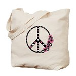 Peace Sign with Hearts and Flowers Tote Bag
