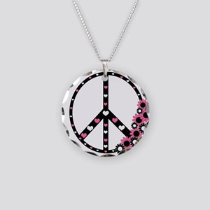 Peace Sign with Hearts and Flowers Necklace Circle