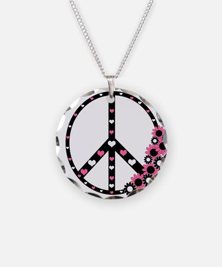 Peace Sign with Hearts and Flowers Necklace