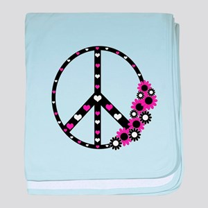 Peace Sign with Hearts and Flowers baby blanket