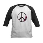 Peace Sign with Hearts and Flowers Kids Baseball J