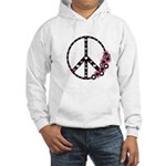 Peace Sign with Hearts and Flowers Hooded Sweatshi
