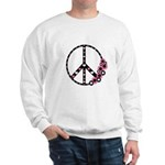 Peace Sign with Hearts and Flowers Sweatshirt