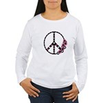 Peace Sign with Hearts and Flowers Women's Long Sl