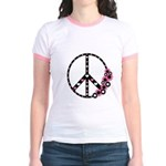 Peace Sign with Hearts and Flowers Jr. Ringer T-Sh