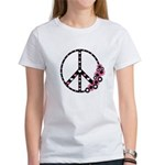 Peace Sign with Hearts and Flowers Women's T-Shirt