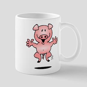 Cheerful jumping pig Mug