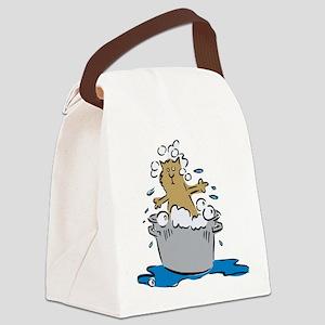 FIN-cat-bath Canvas Lunch Bag