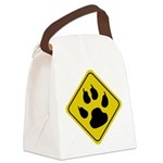 cat-crossing-sign.... Canvas Lunch Bag