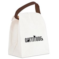 FIN-cattitude-text Canvas Lunch Bag