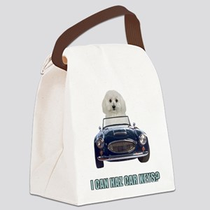 FIN-bichon-frise-car-keys Canvas Lunch Bag