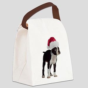 Boston Terrier Christmas Canvas Lunch Bag