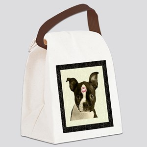FIN-boston-terrier-kiss-FRAME Canvas Lunch Bag