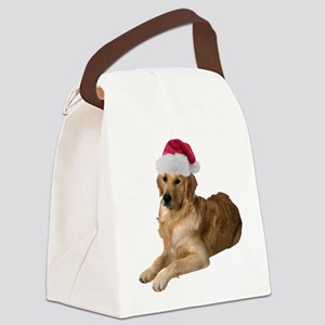 FIN-santa-golden-retriever Canvas Lunch Bag