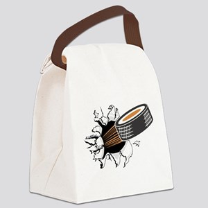 FIN-hockey-puck-tearing Canvas Lunch Bag