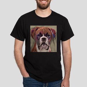 Boxer Dog Black T-Shirt w. Large Picture