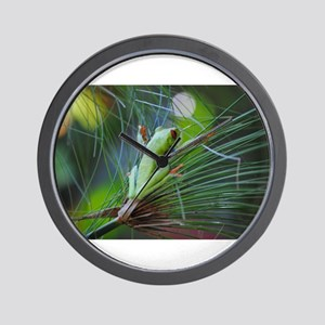 Green and Red Frog on a Leaf 3 Wall Clock