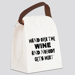 FIN-hand-over-wine Canvas Lunch Bag