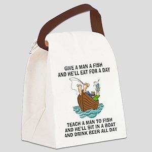 FIN-teach-man-fish-... Canvas Lunch Bag