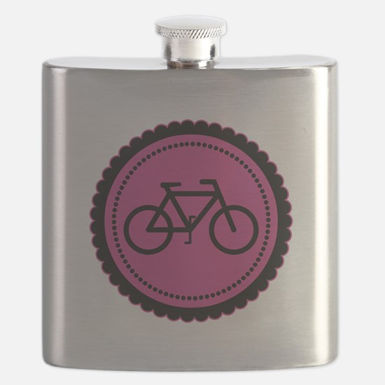 Cute Hot Pink and Black Bicycle Flask
