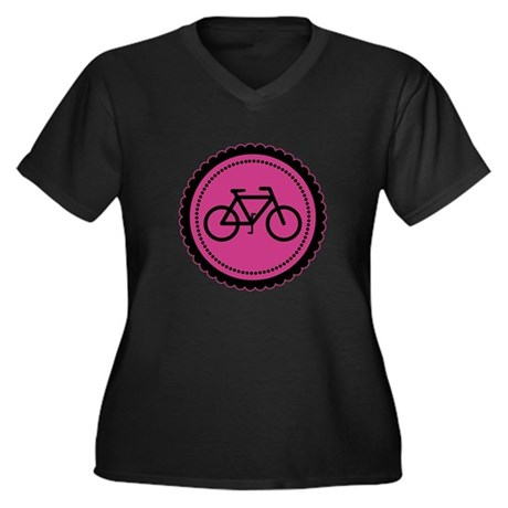 Cute Hot Pink and Black Bicycle Women's Plus Size