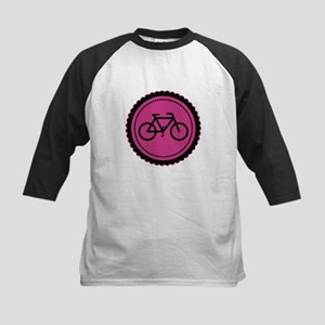 Cute Hot Pink and Black Bicycle Kids Baseball Jers