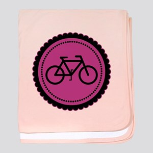 Cute Hot Pink and Black Bicycle baby blanket