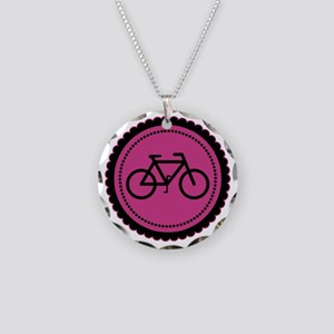 Cute Hot Pink and Black Bicycle Necklace Circle Ch