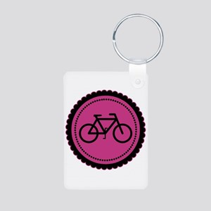 Cute Hot Pink and Black Bicycle Aluminum Photo Key