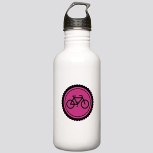 Cute Hot Pink and Black Bicycle Stainless Water Bo