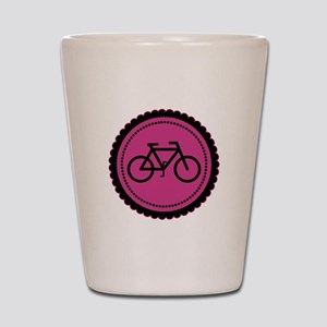 Cute Hot Pink and Black Bicycle Shot Glass