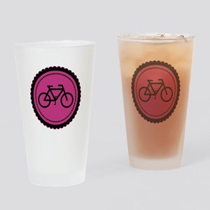 Cute Hot Pink and Black Bicycle Drinking Glass