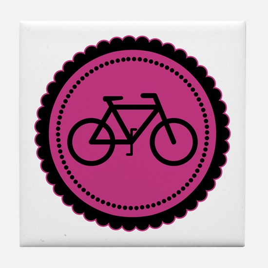 Cute Hot Pink and Black Bicycle Tile Coaster