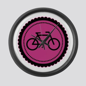 Cute Hot Pink and Black Bicycle Large Wall Clock