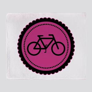 Cute Hot Pink and Black Bicycle Throw Blanket
