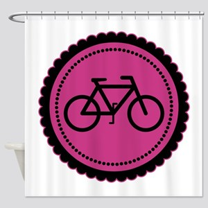 Cute Hot Pink and Black Bicycle Shower Curtain