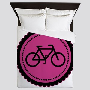 Cute Hot Pink and Black Bicycle Queen Duvet