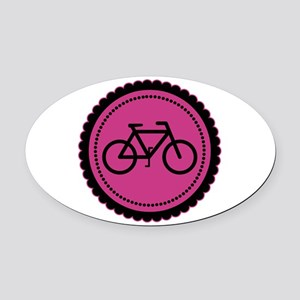 Cute Hot Pink and Black Bicycle Oval Car Magnet