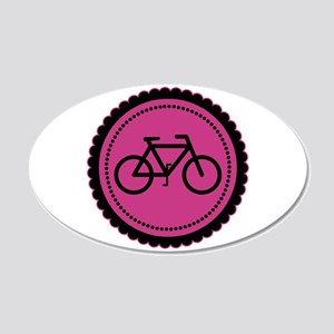 Cute Hot Pink and Black Bicycle 20x12 Oval Wall De