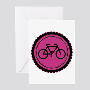Cute Hot Pink and Black Bicycle Greeting Card