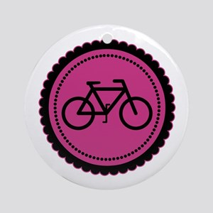 Cute Hot Pink and Black Bicycle Ornament (Round)